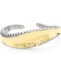 John Hardy - Classic Chain Hammered 18k Gold & Silver Cuff - Lyst