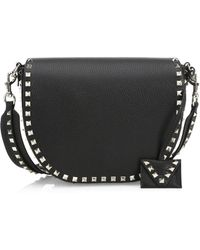 Valentino - Rockstud Leather Saddle Bag - - Lyst