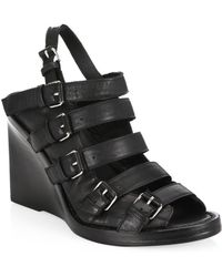 Ann Demeulemeester | Buckle Wedge Leather Sandals | Lyst