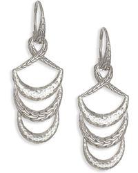 John Hardy - Classic Chain Hammered Silver Drop Earrings Earrings - Lyst