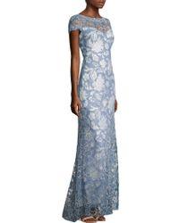 Tadashi Shoji - Short Sleeve Lace Gown - Lyst