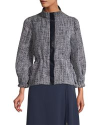 Donna Karan - New York Faux-leather Trim 3/4 Sleeve Tweed Jacket - Lyst