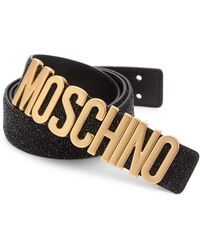 e2f92e36a7 Moschino Men's Leather Logo Belt - White Multi for Men - Lyst