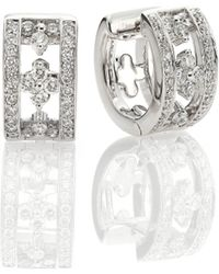 "Kwiat - Jasmine Diamond & 18k White Gold Huggie Hoop Earrings/0.65"" - Lyst"