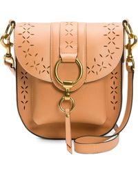 Frye - Ilana Tan Perforated Leather Saddle Bag - Lyst