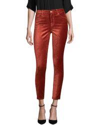 7 For All Mankind - Ankle Velvet Rose Skinny Pants - Lyst