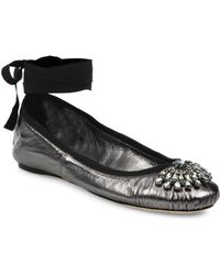 Jimmy Choo - Grace Crystal-embellished Metallic Leather Ankle-wrap Ballet Flats - Lyst