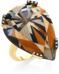 Silvia Furmanovich | 18k Yellow Gold And Diamonds Marquetry Ring | Lyst
