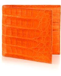 Santiago Gonzalez Men's Crocodile Billfold Wallet - Brown - Orange