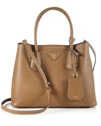Prada - Saffiano Cuir Small Double Bag - Lyst