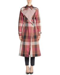Cedric Charlier - Check Trench Coat - Lyst