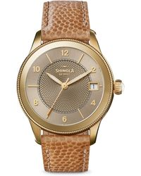 Shinola - The Gail Pvd Gold & Leather Strap Watch - Lyst
