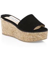 17db2d3b7483 Lyst - Jimmy Choo Pandora Patent Cork Wedge Sandal