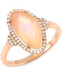 Meira T - Diamond, Rose Quartz & 14k Rose Gold Ring - Rose Gold - Size 6.5 - Lyst