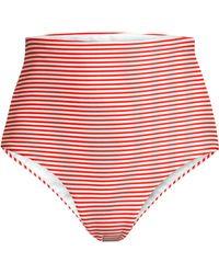 17457cddc7 Mara Hoffman - Women's Lydia High-waist Stripe Bikini Bottoms - White Red -  Lyst