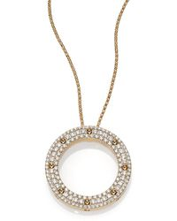 Roberto Coin - Pois Moi Diamond & 18k Yellow Gold Circle Pendant Necklace - Lyst