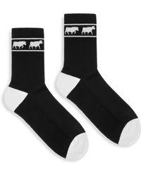 Bally - Animal Intarsia Crew Socks - Lyst