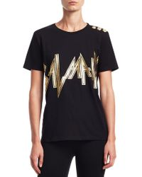 367e96ce Lyst - Balmain Button-shoulder Logo Muscle Tee in Black