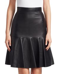 Akris Punto - Ruffled Leather Fit-&-flare Skirt - Lyst