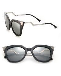 9eb9d79e00c Fendi Zig-zag Arm 52mm Cat Eye Sunglasses in Blue - Lyst