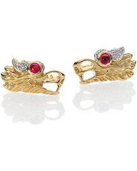 John Hardy - Naga Ruby, Diamond, Sterling Silver & 18k Yellow Gold Stud Earrings - Lyst