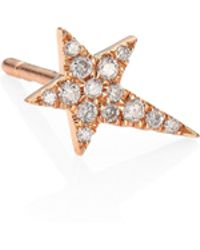 Diane Kordas - Star Diamond & 18k Rose Gold Single Stud Earring - Lyst