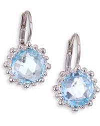 Anzie - Dew Drop Sky Blue Topaz Snowflake Earrings - Lyst