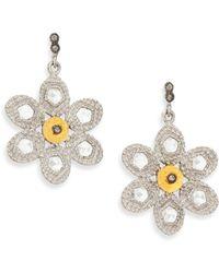 Coomi - Opera Diamond, Crystal, 20k Yellow Gold & Sterling Silver Flower Drop Earrings - Lyst