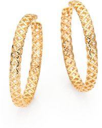 5c7c10b938e Lyst - Gucci Diamantissima 18k Rose Gold Teardrop Earrings in Metallic
