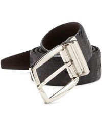 Saks Fifth Avenue - Croc-embossed Leather Belt - Lyst