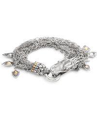 John Hardy - Naga 18k Yellow Gold & Sterling Silver Dragon Charm Multi-strand Bracelet - Lyst