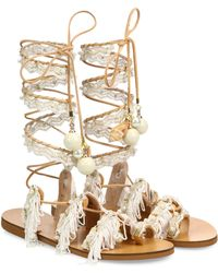 Elina Linardaki - Ever After Embellished Leather Lace-up Sandals - Lyst