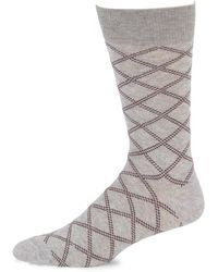 Saks Fifth Avenue - Collection Dashed Plaid Crew Socks - Lyst
