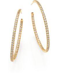 Roberto Coin - Diamond & 18k Gold Inside-outside Hoop Earrings/1.35 - Lyst