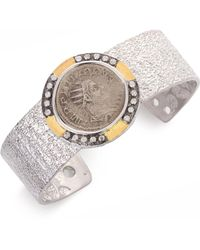 Coomi Coin Diamond, 20k Yellow Gold & Sterling Silver Cuff Bracelet