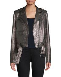 Michael Kors - Michael Metallic Leather Moto Jacket - Lyst