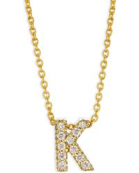 Roberto Coin - Tiny Treasures 18k Yellow Gold & Diamond Letter A Necklace - Lyst