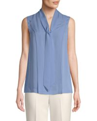 St. John - Silk Double Georgette Tie-neck Blouse - Lyst