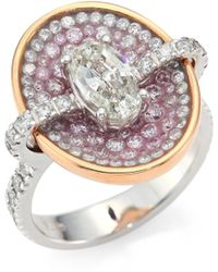 Plevé - Pink Burst Diamond & 18k White Gold Oval Opus Ring - Lyst