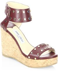 Jimmy Choo | Nellie 100 Wxw Studded Leather Cork Wedge Sandals | Lyst