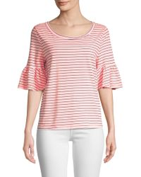 Splendid - Striped Ruffle Tee - Lyst