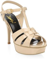 6086528bd5ce Saint Laurent - Tribute 75 Patent Leather Platform Sandals - Lyst