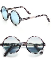 Cutler & Gross - 52mm Marbleized Round Sunglasses - Lyst