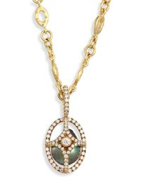 Jordan Alexander - Caged 18mm-20mm Tahitian Pearl, Diamond & 18k Yellow Gold Pendant - Lyst