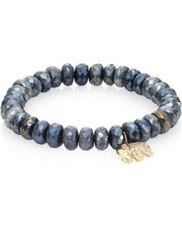 Sydney Evan - Small Elephant Diamond, Dark Grey Quartz & 14k Yellow Gold Beaded Stretch Bracelet - Lyst