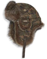 Crown Cap - Fur-trimmed Camo Flap Aviator Hat - Lyst
