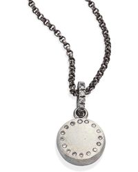 Rene Escobar - Small Diamond & Sterling Silver Round Pendant Necklace - Lyst