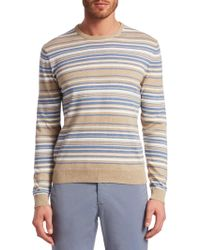 30b5b7d4ad18b9 Saks Fifth Avenue - Collection Stripe Crewneck Cotton Sweater - Lyst