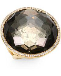 Ippolita - Pyrite Doublet, Diamond & 18k Rose Gold Cocktail Ring - Lyst