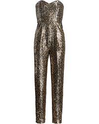 MILLY Leopard Sequins Jess Sweetheart Jumpsuit - Black